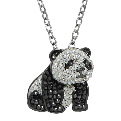Animal Planet™ Crystal Sterling Silver Endangered Giant Panda Pendant Necklace