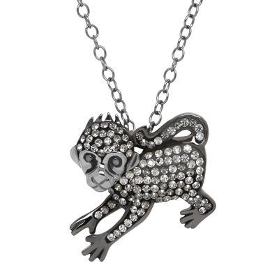 Animal Planet™ Crystal Sterling Silver Endangered Black Spider Monkey Pendant Necklace