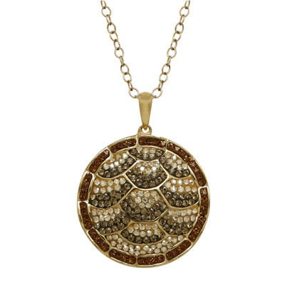 Animal Planet™ Crystal 14K Yellow Gold Over Silver Endangered Hawksbill Sea Turtle Pendant Necklace