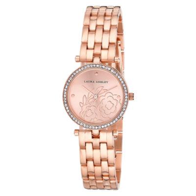 Laura Ashley Womens Rose Goldtone Bracelet Watch-La31021rg