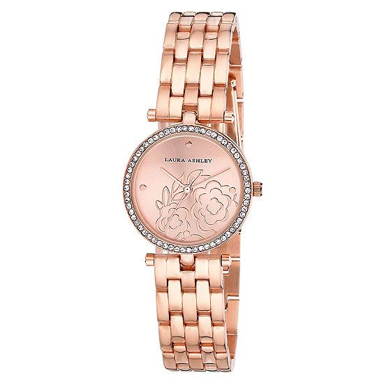Laura Ashley Womens Rose Goldtone Bracelet Watch La31021rg