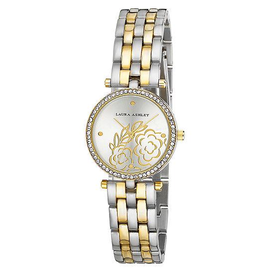 Laura Ashley Womens Two Tone Bracelet Watch-La31021ttg