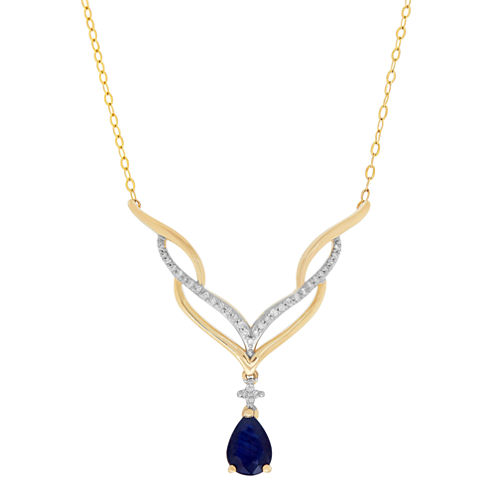 1/10 CT. T.W. Blue Sapphire 10K Statement Necklace