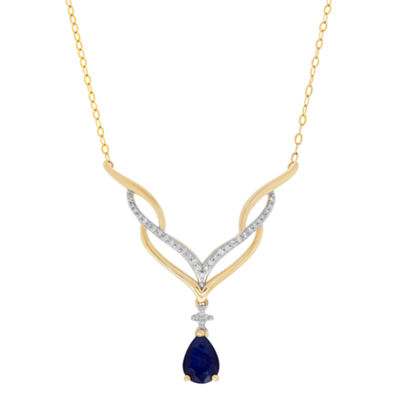 Womens 1/10 CT. T.W. Genuine Blue Sapphire 10K Gold Statement Necklace