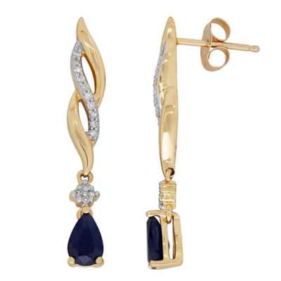 Diamond Accent Genuine Blue Sapphire 10K Gold Drop Earrings