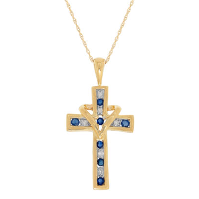 Womens Diamond Accent Genuine Blue Sapphire 10K Gold Cross Pendant Necklace