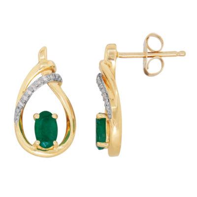 Diamond Accent Genuine Emerald 10K Gold Drop Earrings