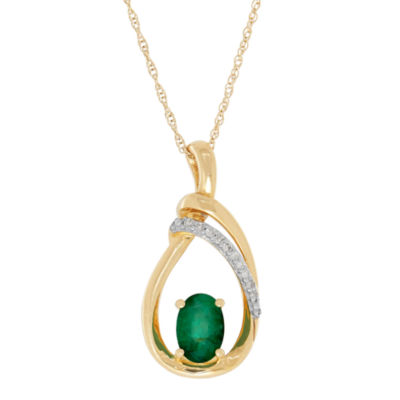 Womens Diamond Accent Genuine Emerald 10K Gold Pendant Necklace