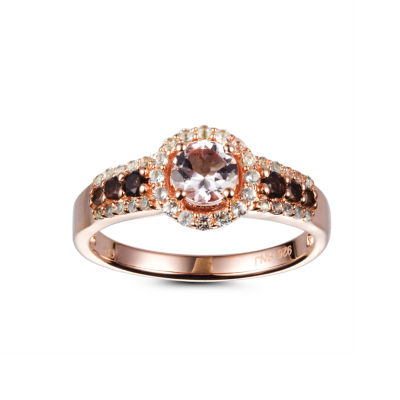 Womens Pink Morganite 14K Gold Over Silver Halo Cocktail Ring