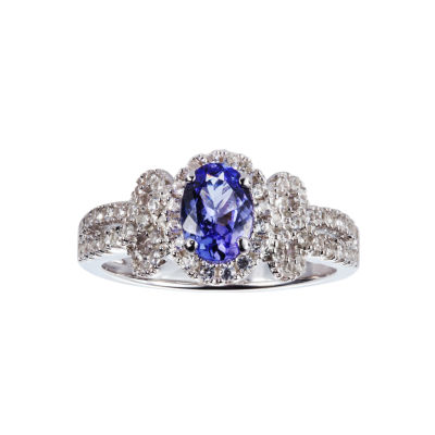 Womens Blue Tanzanite Sterling Silver Halo Ring