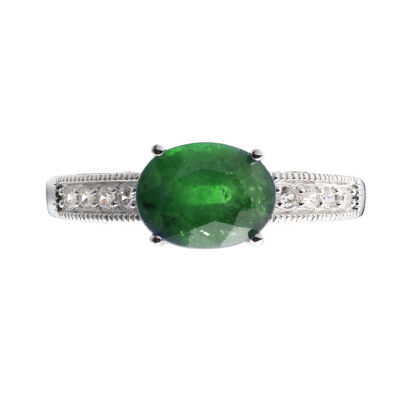 Womens Green Sterling Silver Solitaire Ring