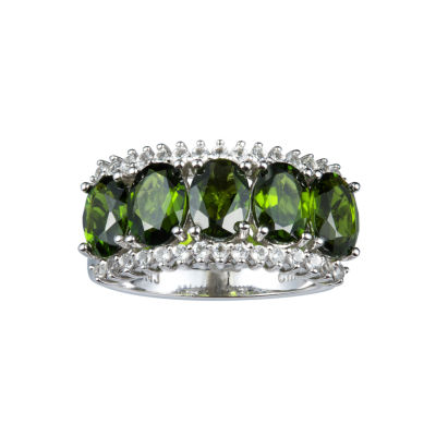 Womens Genuine Green Chrome Diopside Sterling Silver Side Stone Cocktail Ring
