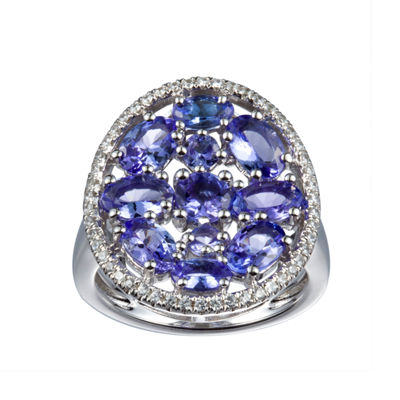 Womens Blue Tanzanite Sterling Silver Cocktail Ring