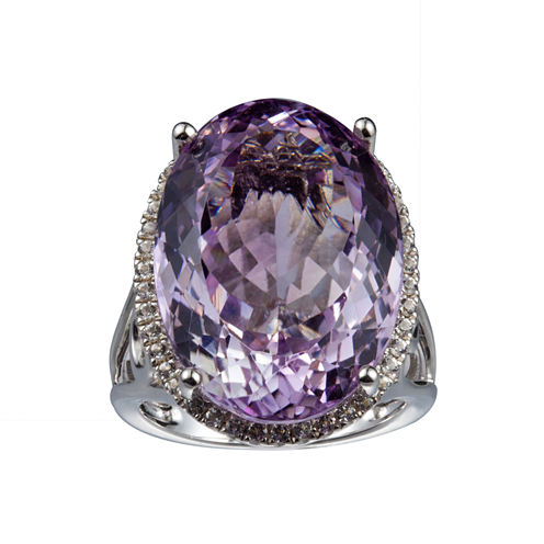 Womens Pink Amethyst Sterling Silver Cocktail Ring