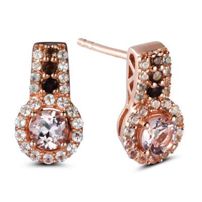 Genuine Pink Morganite Sterling Silver Drop Earrings