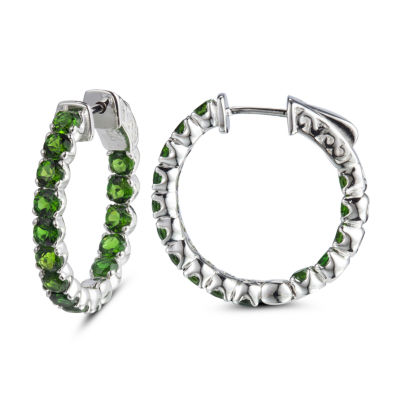 Genuine Green Sterling Silver 25mm Hoop Earrings