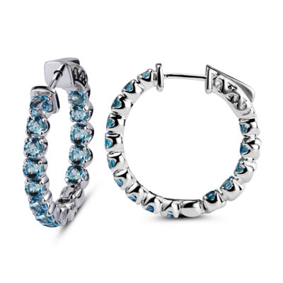 Genuine Blue Topaz Sterling Silver 25mm Hoop Earrings