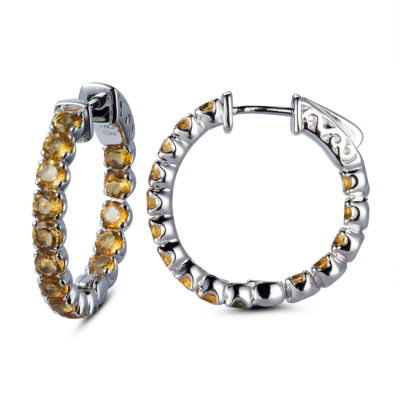 Genuine Yellow Citrine Sterling Silver 25mm Hoop Earrings