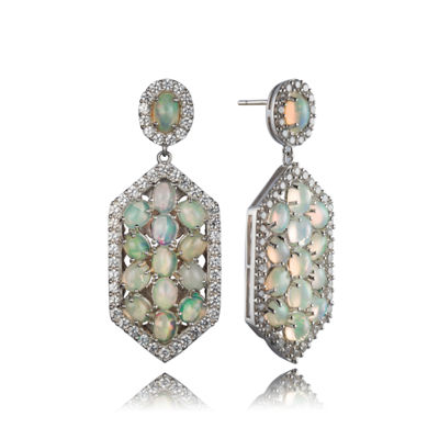 Genuine White Opal Sterling Silver Drop Earrings