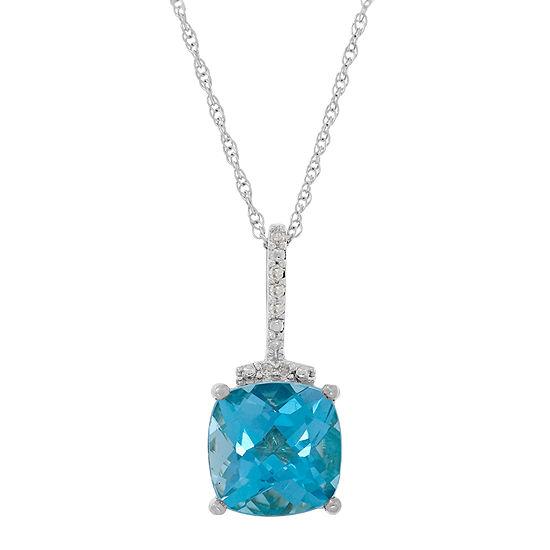 Womens Genuine Blue Topaz 10K Gold Square Pendant Necklace