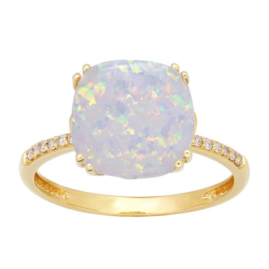 Womens Diamond Accent White Opal 10K Gold Cocktail Ring