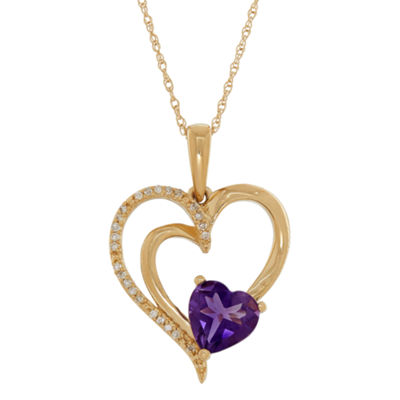 Womens Diamond Accent Genuine Purple Amethyst 10K Gold Heart Pendant Necklace