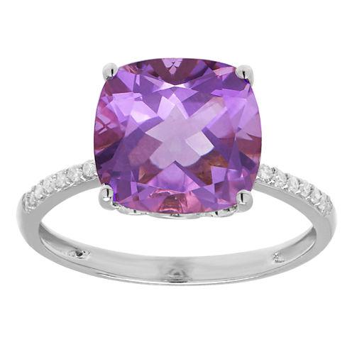 Womens Diamond Accent Genuine Purple Amethyst 10K Gold Cocktail Ring