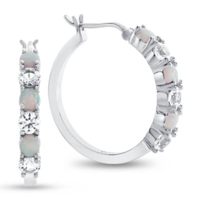 Lab-Created Opal & White Sapphire Sterling Silver Hoop Earrings