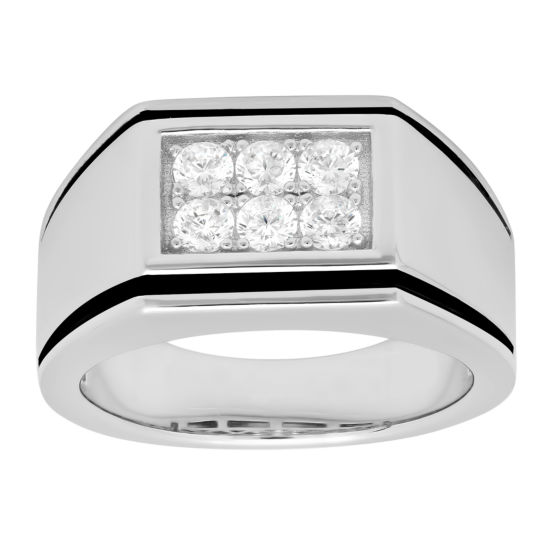 Mens Cubic Zirconia-Accent Ring Sterling Silver