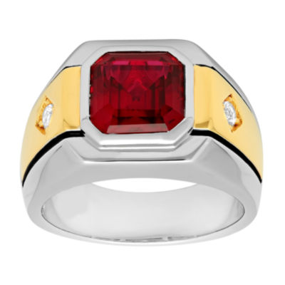Mens Lab-Created Ruby & White Sapphire Ring