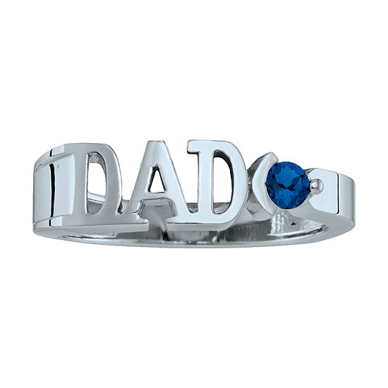 Personalized Men's Simulated Birthstone Dad Ring