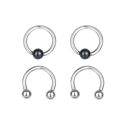 Stainless Steel 316L 2-pc 14 Ga. Captive Hoops And Horseshoe Set