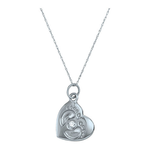 Personalized Simulated Birthstone Footprint Heart Pendant Necklace