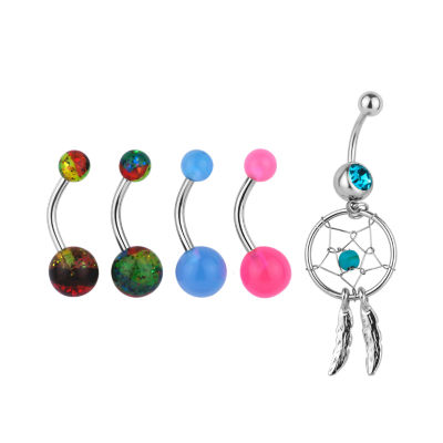 Stainless Steel 316L 5-pc 14 Ga. Crystal Dream Catcher Belly Ring Set