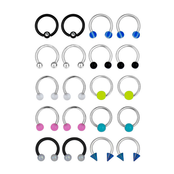 Stainless Steel 316L 10-pc 16 Ga. Captive Hoops And Horseshoe Set