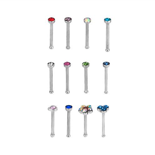Stainless Steel 316L 12-pc 20 Ga. Crystal Nose Bone Set