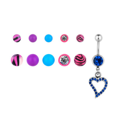 Stainless Steel 316L 14 Ga. 10-pc 5mm And 8mm Loose Bead Belly Ring Set
