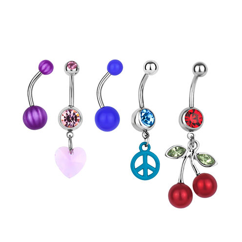 Stainless Steel 316L 5-pc 14 Ga. Crystal Belly Ring Set