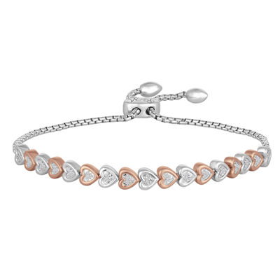 Rhythm & Muse Womens 1/10 CT. T.W. Diamond Sterling Silver & 14K Rose Gold Over Silver Bolo Bracelet