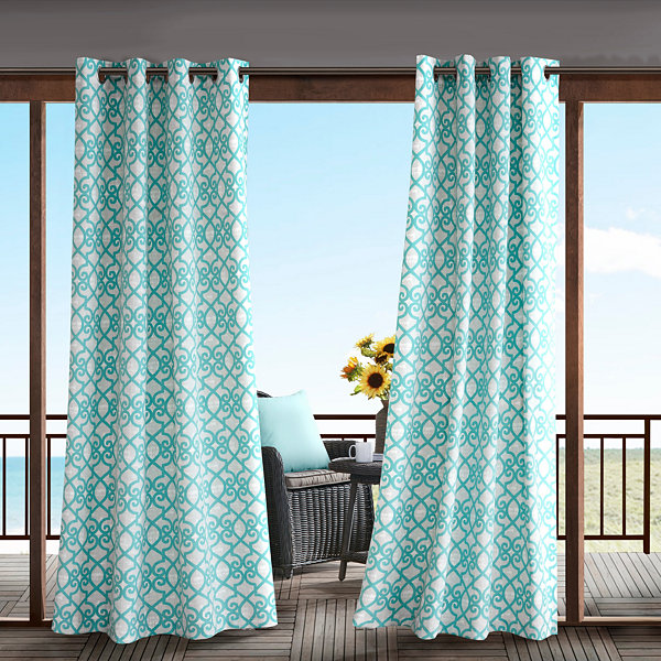 Madison Park Crystal  Grommet-Top Outdoor Curtain