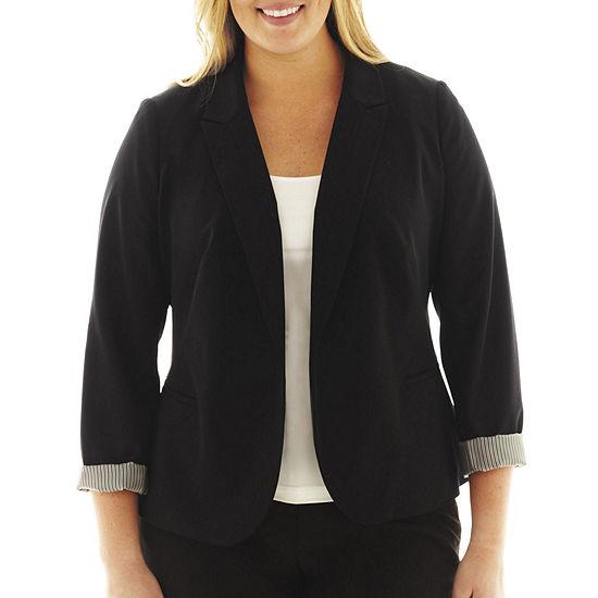 Worthington Long Sleeve Open Front Blazer Plus