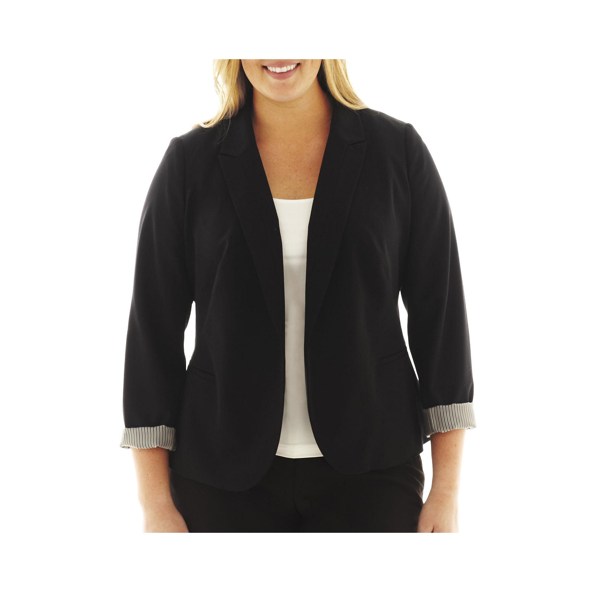 Worthington Long Sleeve Open Front Blazer - Plus plus size,  plus size fashion plus size appare