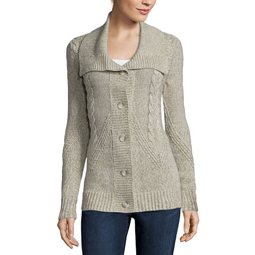 St. Johns Bay Long-Sleeve Cable Tunic Cardigan (Oatmeal Marl)