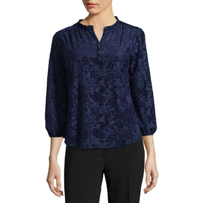 Liz Claiborne 3/4 Sleeve Split Neck Velvet Blouse