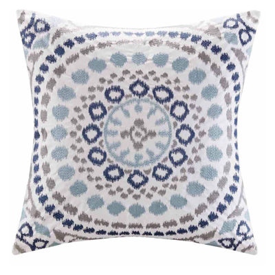 Madison Park Signature Grace Cotton Embroidered Square Throw Pillow