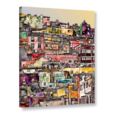 Brushstone Mexican Hilltown Gallery Wrapped CanvasWall Art