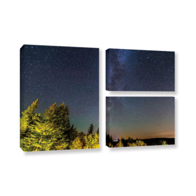 Brushstone Milky Way In Maine Horizontal 3-pc. Flag Gallery Wrapped Canvas Wall Art
