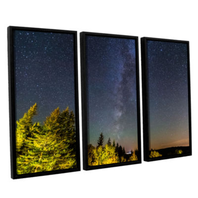 Brushstone Milky Way In Maine Horizontal 3-pc. Floater Framed Canvas Wall Art