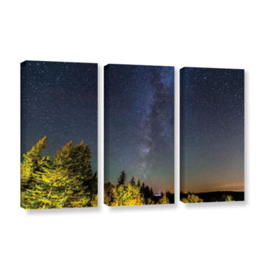 Brushstone Milky Way In Maine Horizontal 3-pc. Gallery Wrapped Canvas Wall Art