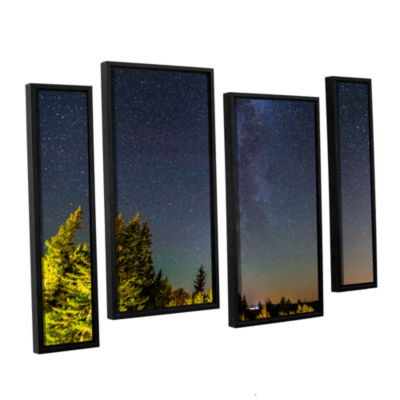 Brushstone Milky Way In Maine Horizontal 4-pc. Floater Framed Staggered Canvas Wall Art